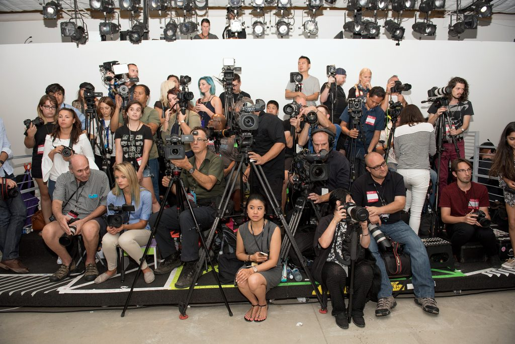 NEW YORK, NY - SEPTEMBER 12: Runway photographers prepare for the Leanne Marshall fashion show during New York Fashion Week September 2016 at The Gallery, Skylight at Clarkson Sq on September 12, 2016 in New York City. (Photo by Mike Pont/WireImage)
