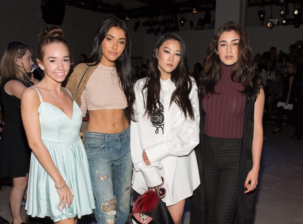 NEW YORK, NY - SEPTEMBER 12: (L-R) Actress Holly Taylor, Madison Beer, actress Arden Cho, and Lauren Jauregui of the musical group Fifth Harmony attend the Leanne Marshall fashion show during New York Fashion Week September 2016 at The Gallery, Skylight at Clarkson Sq on September 12, 2016 in New York City. (Photo by Mike Pont/WireImage) *** Local Caption *** Arden Cho;Lauren Jauregui;Madison Beer;Holly Taylor