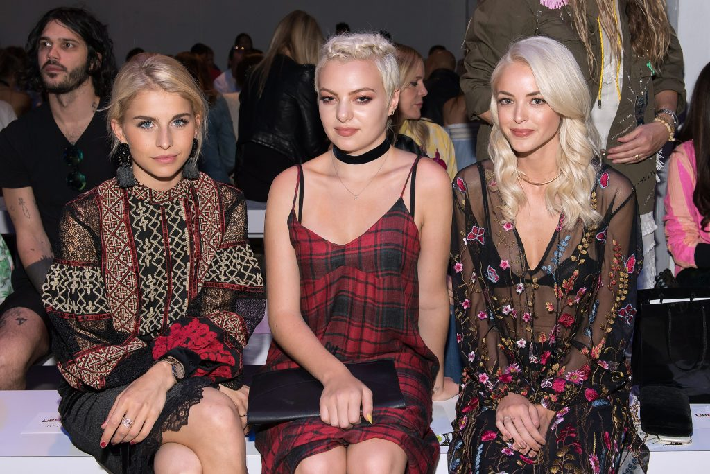 NEW YORK, NY - SEPTEMBER 12: (L-R) Carolyn Daur, Kaya Stewart, and Caitlin Carter attend the Libertine fashion show during New York Fashion Week September 2016 at The Gallery, Skylight at Clarkson Sq on September 12, 2016 in New York City. (Photo by Mike Pont/WireImage) *** Local Caption *** Kaya Stewart; Carolyn Daur; Caitlin Carter